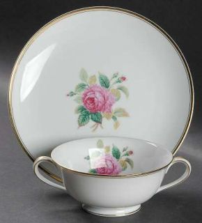 Noritake Sharon (Gold Trim) Footed Cream Soup Bowl & Saucer Set, Fine China Dinn