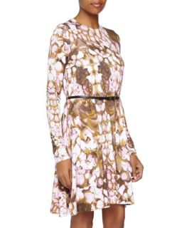 Long Sleeve Floral Print Jersey Dress, Pink/Brown