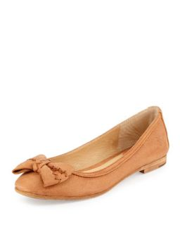 Esther Bow Nubuck Leather Ballet Flat, Natural