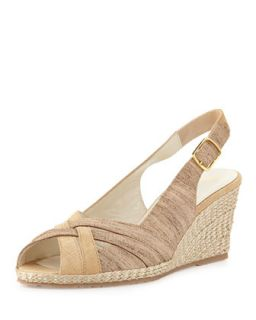 Suede Leather Combo Wedge, Beige