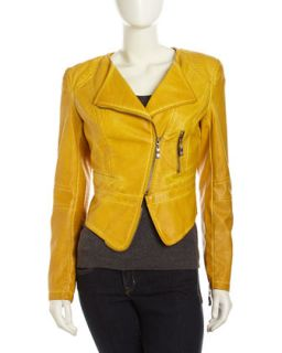 Faux Leather Zip Moto Jacket, Citron