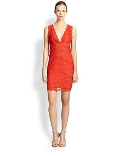 Nicole Miller Stretch Lace Dress   Melon