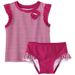 Circo Infant Toddler Girls Stripe Rashguard Set   9 M