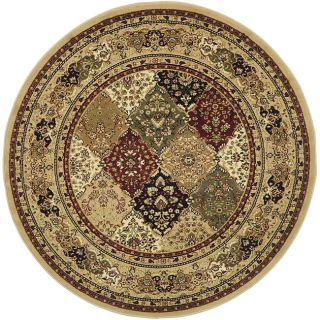 Lyndhurst Collection Multicolor/ Beige Rug (5 3 Round)