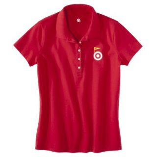 Womens Red Banner Art Short Sleeve Polo   M