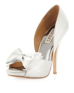 Mable Satin Bow Pump, Silver