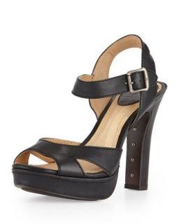 Samantha Seamed Leather Sandal, Dark Brown