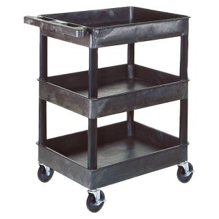 Luxor 3 Shelf Heavy Duty Tub Cart Blue   BKSTC111 BLUE