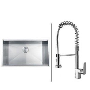 Ruvati RVC1371 Combo Stainless Steel Kitchen Sink and Chrome Faucet Set