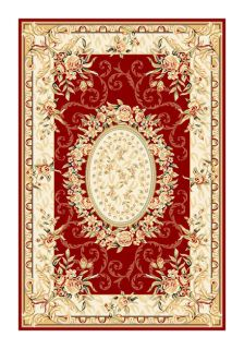 Lyndhurst Collection Aubussons Red/ Ivory Rug (33 X 53) (RedPattern FloralMeasures 0.375 inch thickTip We recommend the use of a non skid pad to keep the rug in place on smooth surfaces.All rug sizes are approximate. Due to the difference of monitor col