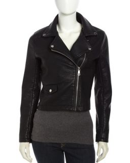Hooded Faux Leather Moto Jacket, Black