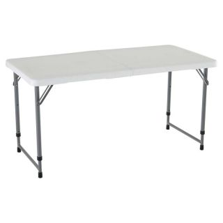 Lifetime 4 ft. Rectangle Light Commercial Fold In Half Adjustable Folding Table