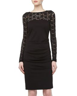 Long Sleeve Lace/Stretch Dress, Black