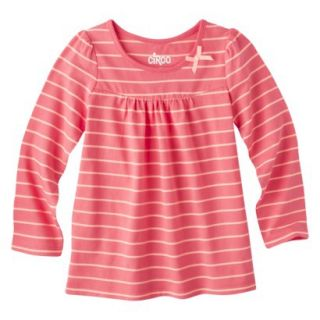 Circo Infant Toddler Girls Long sleeve Stripe Tee   Playful Coral 24 M