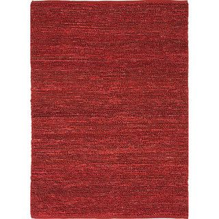 Hand woven Naturals Solid Pattern Red/ Orange Rug (2 X 3)