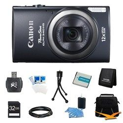 Canon PowerShot ELPH 340 HS 16MP 12x Zoom 3 inch LCD Black Ultimate Kit