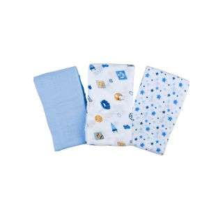 Summer Infant SwaddleMe 3 pk. Muslin Blankets   Go Team, Blue/White
