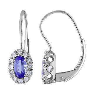 ONLINE ONLY   10K White Gold Tanzanite & Diamond Earrings, Womens