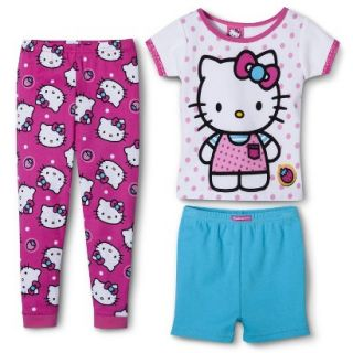 Hello Kitty Toddler Girls 3 Piece Short Sleeve Pajama Set   Pink 5T