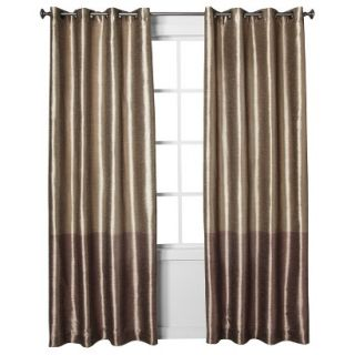 Threshold Banded Faux Silk Window Panel   Brown (54x95)