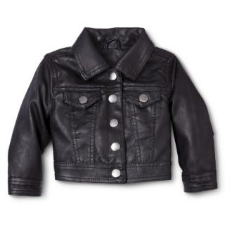 Dollhouse Infant Toddler Girls Faux Leather Jacket   Black 4T