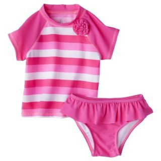 Circo Infant Toddler Girls 2 Piece Stripe Rashguard Set   Pink 18 M