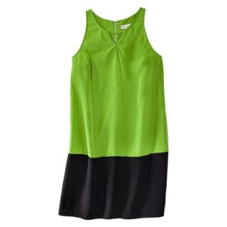 Merona Womens Colorblock Hem Shift Dress   Zuna Green/Black   L