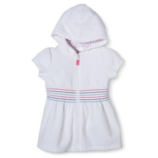 Circo Infant Toddler Girls Hooded Cover Up Dress   White 3T