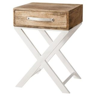 Accent Table Threshold White and Natural Finish X Base Accent Table