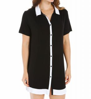 Anne Klein 8210382 Black & White Short Sleeve Sleepshirt
