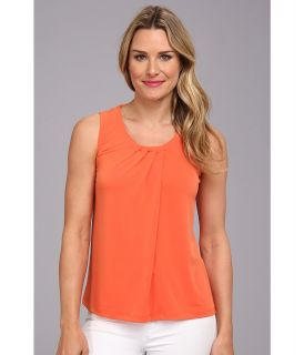 Anne Klein Sleeveless Pleat Neck Top Womens Sleeveless (Orange)