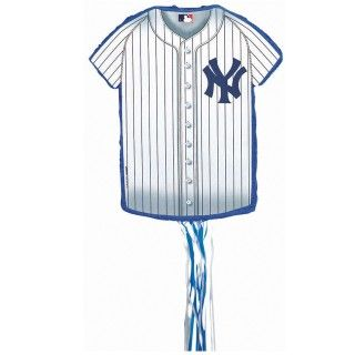 New York Yankees Baseball   Shirt Shaped Pull String Pinata