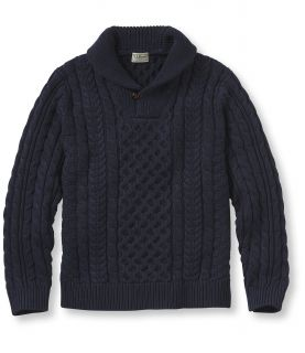 Double L Cotton Sweater, Fisherman Shawl Collar