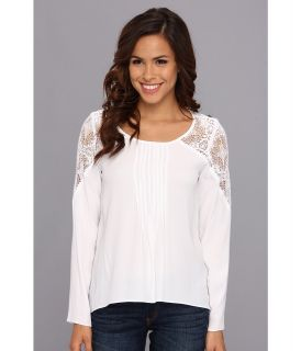 Nicole Miller Boho Lace Top Womens Blouse (White)