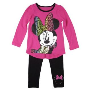 Disney Infant Toddler Girls Minnie Mouse Top and Bottom Set   Fuchsia 18 M