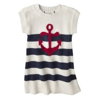 Infant Toddler Girls Striped Anchor Sweater Dress   White/Navy 12 M