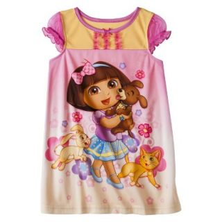 Dora the Explorer Toddler Girls Short Sleeve Nightgown   Pink 4T