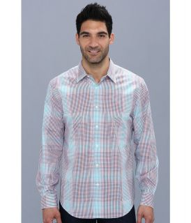 Perry Ellis Long Sleeve Large Ombre Check Shirt Mens Long Sleeve Button Up (White)