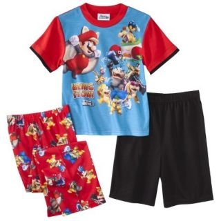 Super Mario Brothers Boys 3 Piece Short Sleeve Pajama Set   6 Red