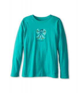 Life is good Kids Crusher L/S Jackie Snow Angel Tee Girls Long Sleeve Pullover (Green)