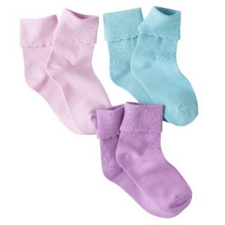 Circo Girls 3 Pack Cuffed Ankle Sock   Fresh Bloom 3 10