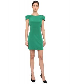 tibi Solid Heavy Silk CDC Cap Sleeve Dress Womens Dress (Green)