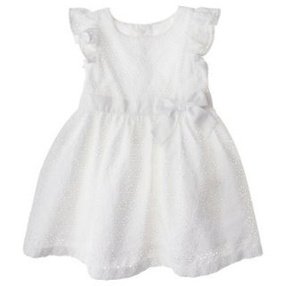 Cherokee Infant Toddler Girls Eyelet Flutter Sleeve Dress   White 5T