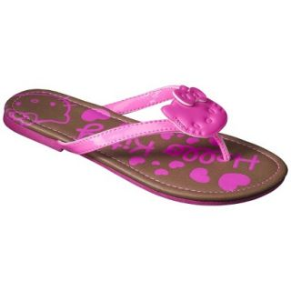 Girls Hello Kitty Flip Flop Sandals   Neon Pink L