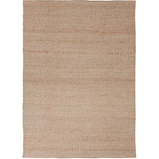 Handmade Naturals Solid Pattern Casual Brown Rug (36 X 56)