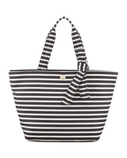 flatiron barbara striped nylon tote bag, black/white   kate spade new york