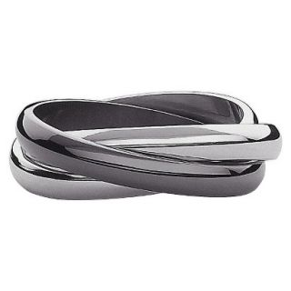 Stainless Steel 3 Band Ring Size 9   Black And White