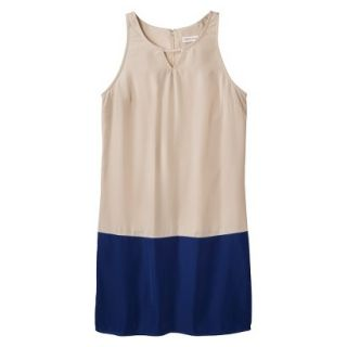 Merona Womens Colorblock Hem Shift Dress   Hamptons Beige/Waterloo Blue   S