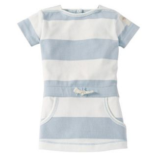 Burts Bees Baby Infant Girls Stripe Boatneck Dress   Fog/Cloud 12 M