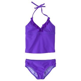 Girls 2 Piece Halter Tankini Swimsuit Set   Purple M
